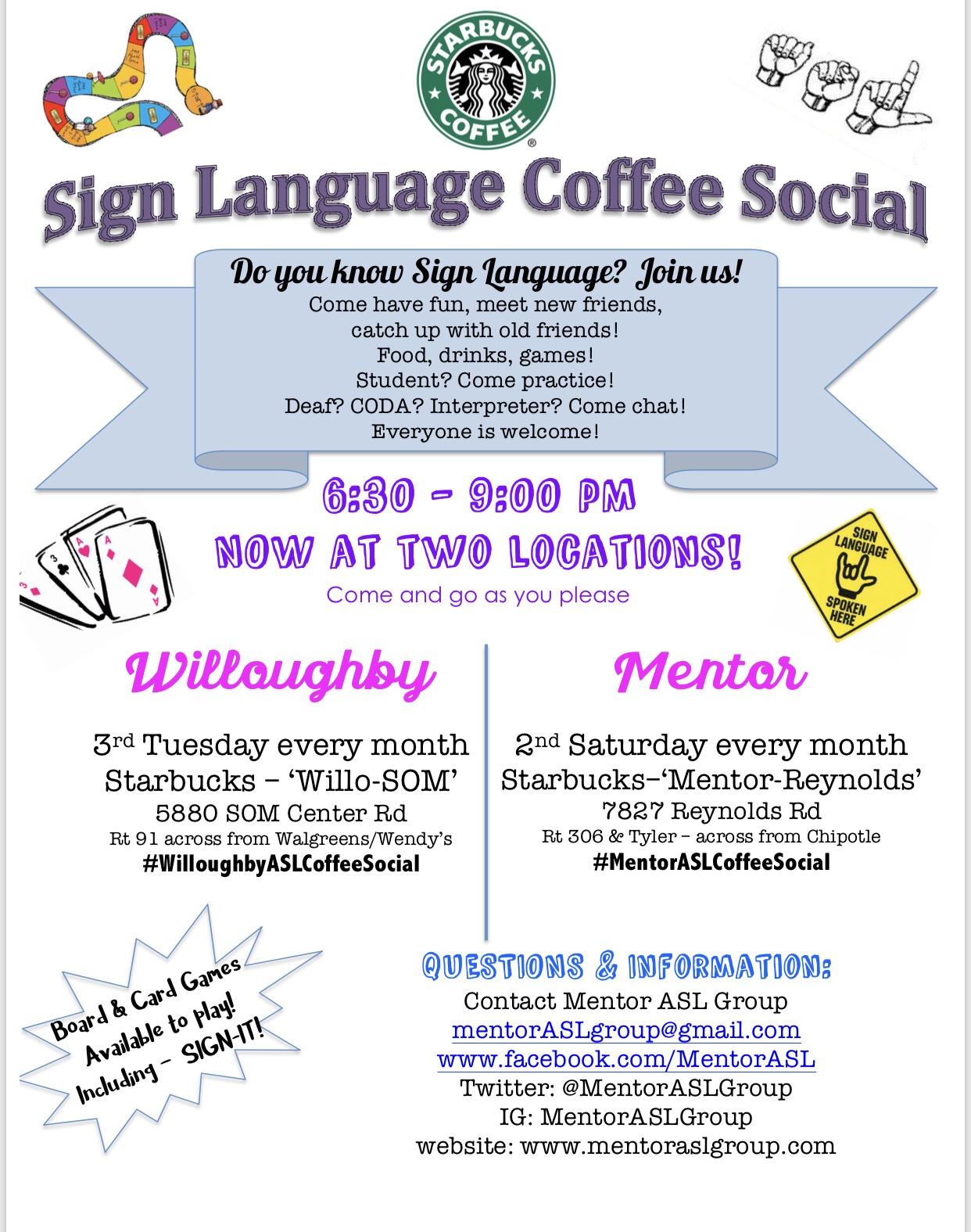 Upcoming ASL/Signing Events – Mentor ASL Group